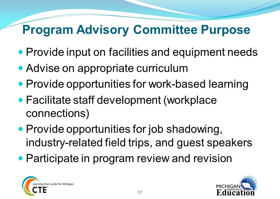 Program Advisory Committee Purpose
