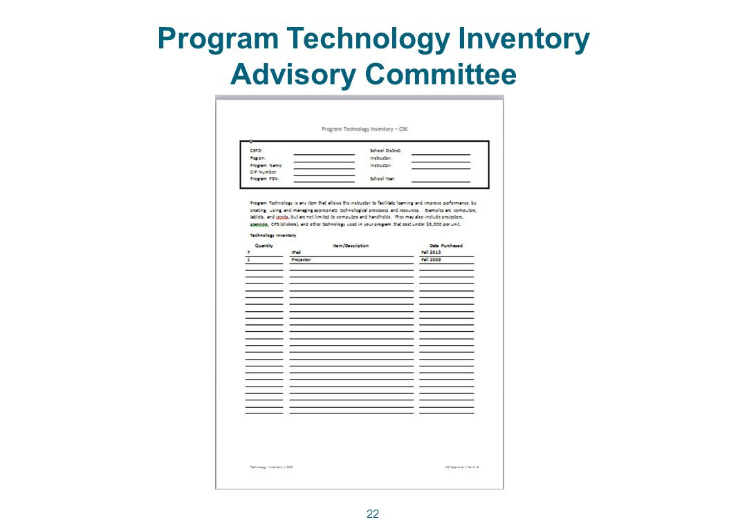 Program Technology Inventory Advisory Committee