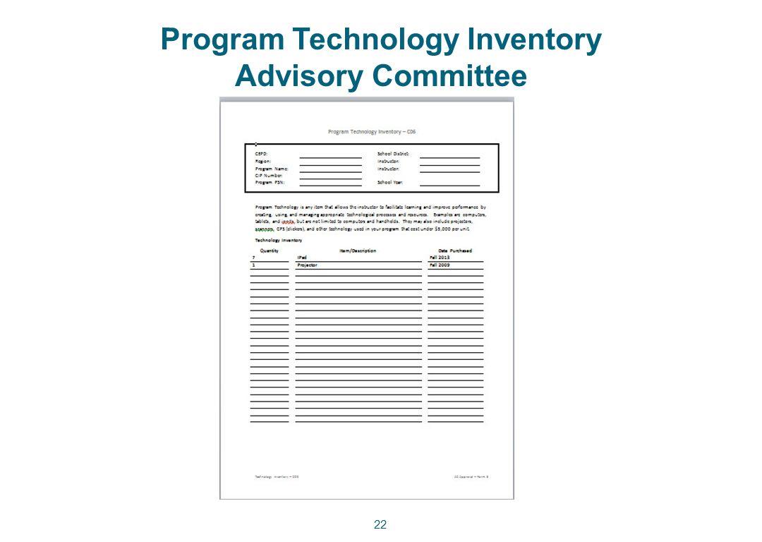 Program Technology Inventory Advisory Committee