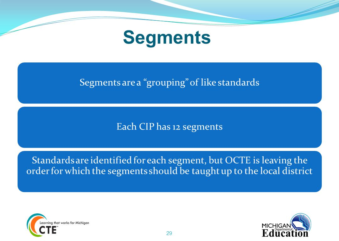 Segments are a grouping of like standards