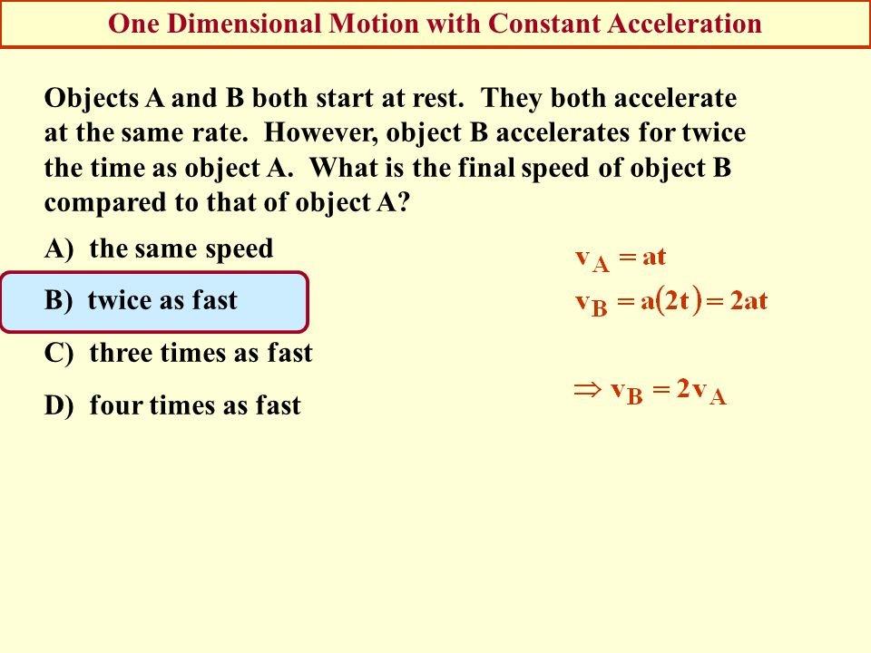 One Dimensional Motion with Constant Acceleration