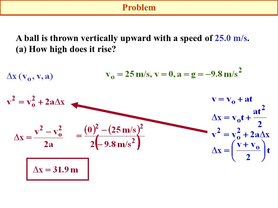 Problem A ball is thrown vertically upward with a speed of 25.0 m/s. (a) How high does it rise