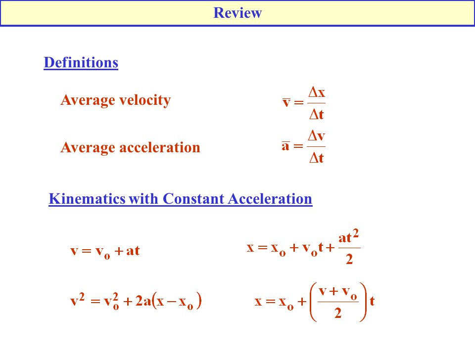 Review Definitions Average velocity Average acceleration Kinematics with Constant Acceleration
