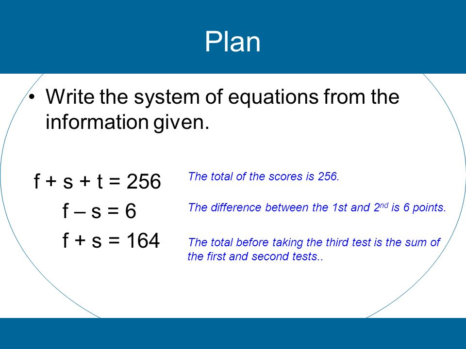Plan Write the system of equations from the information given.