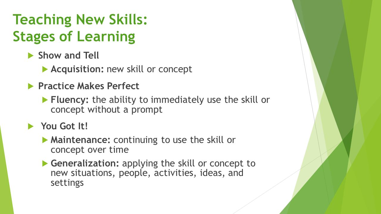 Teaching New Skills: Stages of Learning
