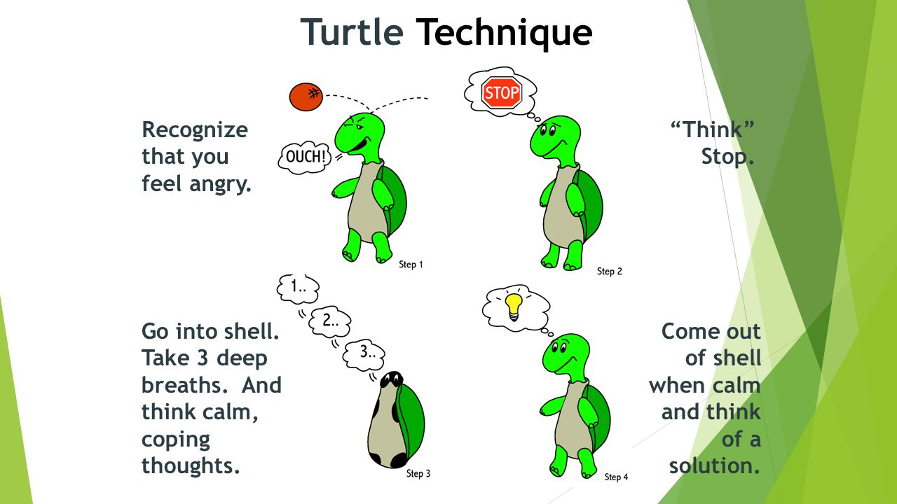 Turtle Technique Recognize that you feel angry. Think Stop.