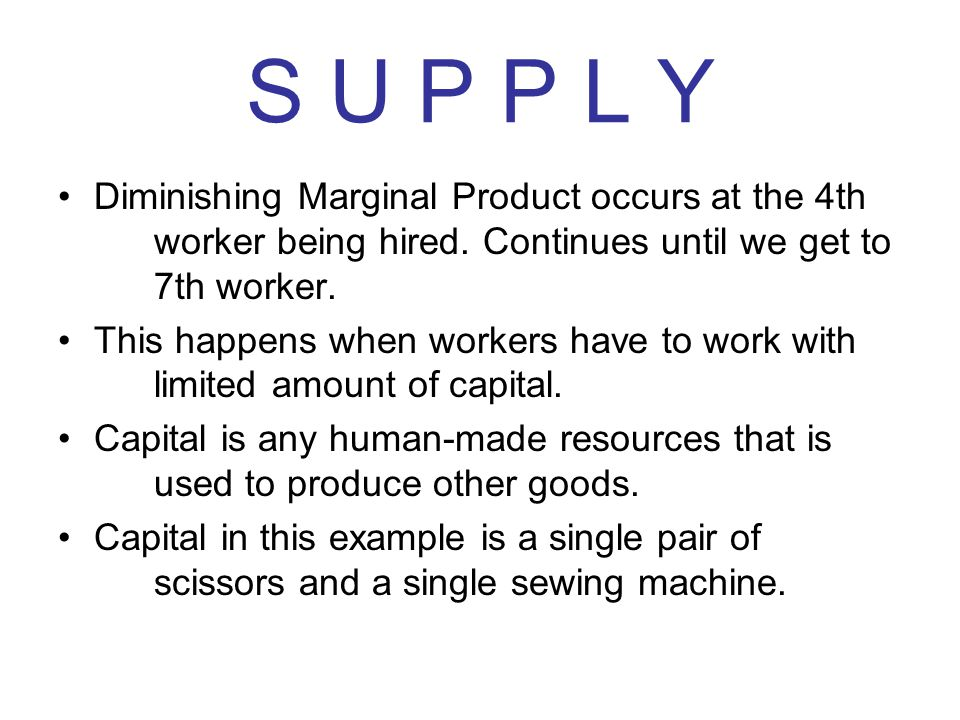 S U P P L Y Diminishing Marginal Product occurs at the 4th worker being hired. Continues until we get to 7th worker.