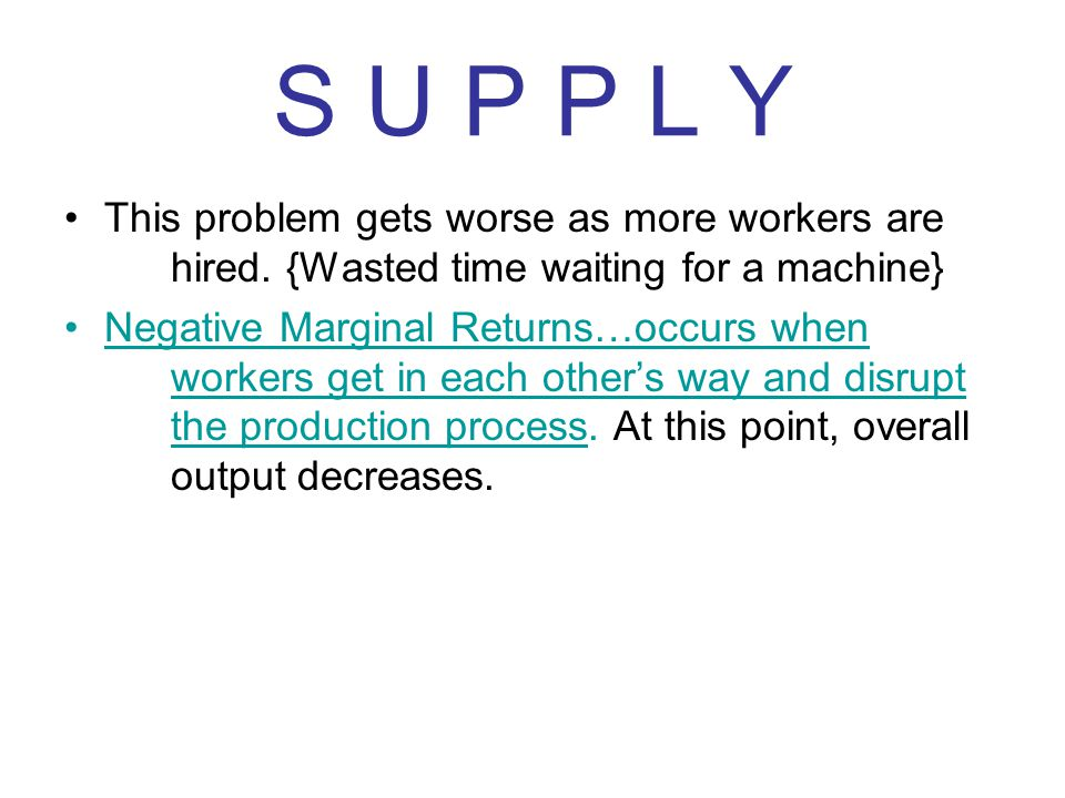 S U P P L Y This problem gets worse as more workers are hired. {Wasted time waiting for a machine}