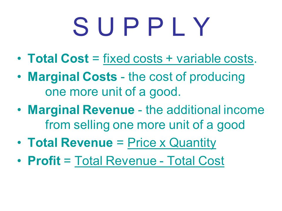 S U P P L Y Total Cost = fixed costs + variable costs.