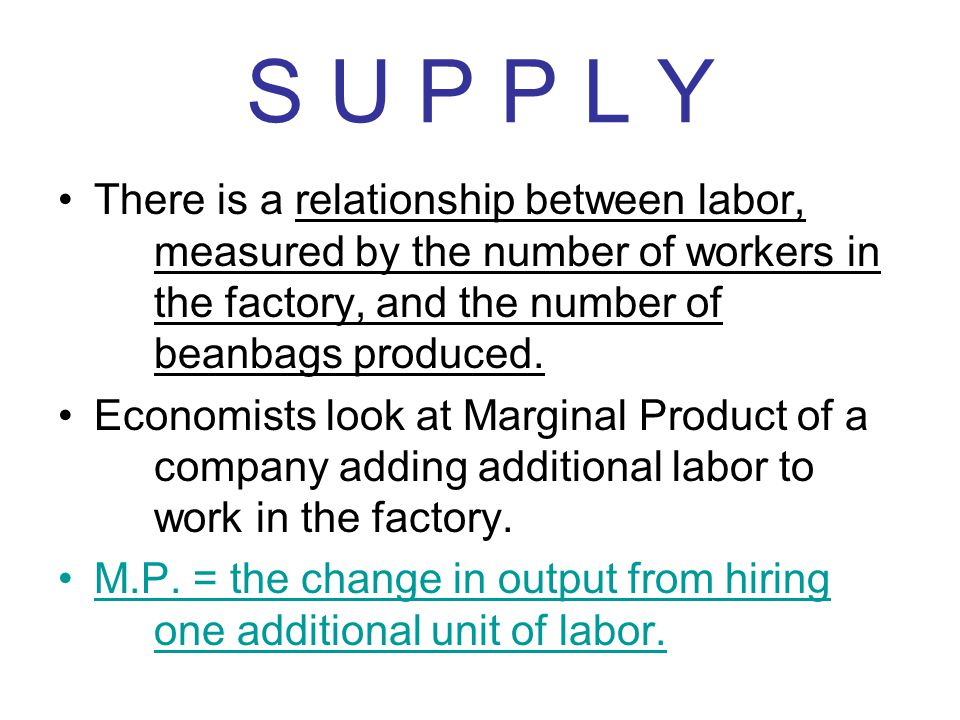 S U P P L Y There is a relationship between labor, measured by the number of workers in the factory, and the number of beanbags produced.