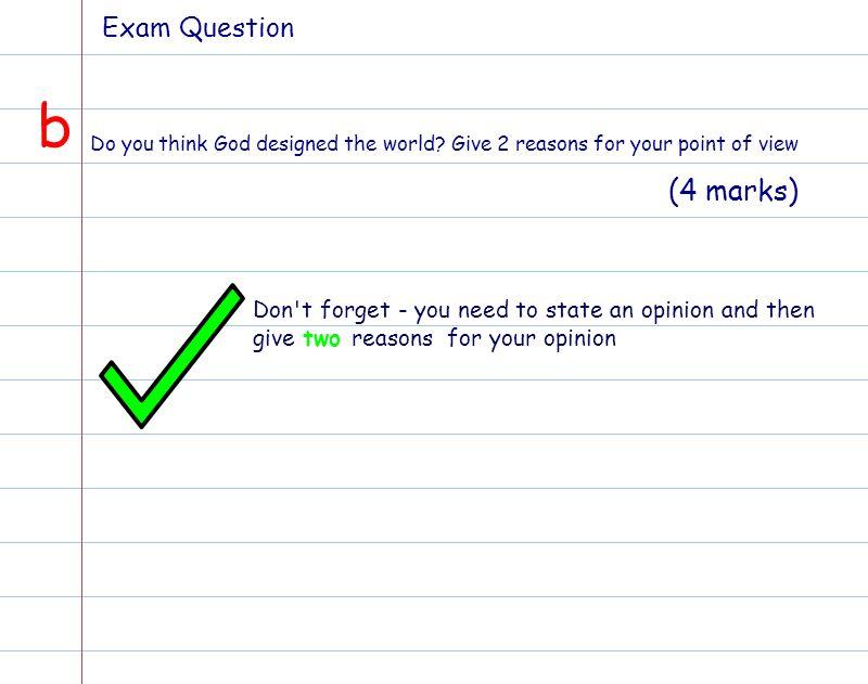 b (4 marks) Exam Question