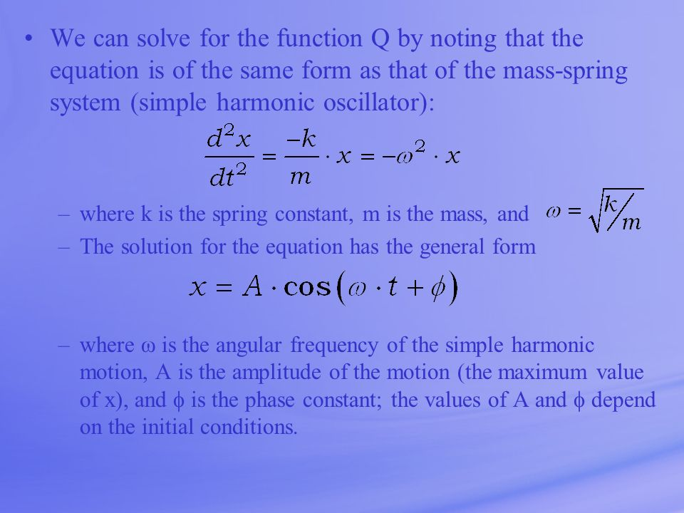 We can solve for the function Q by noting that the equation is of the same form as that of the mass-spring system (simple harmonic oscillator):