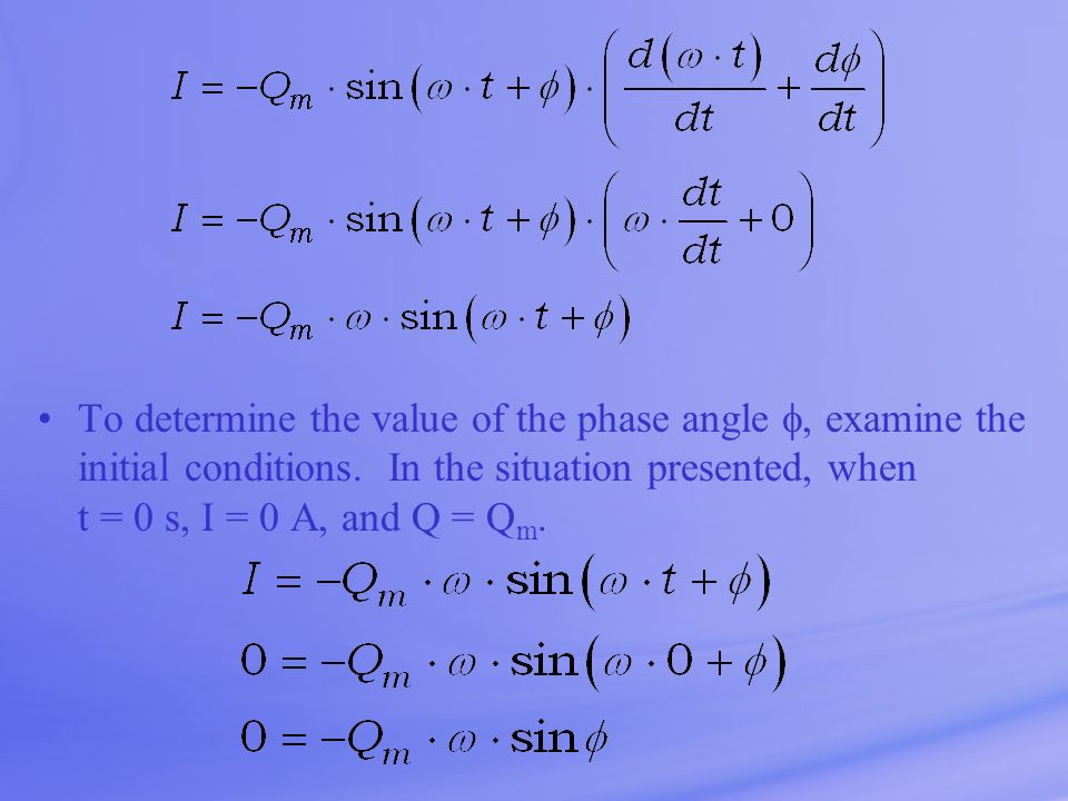 To determine the value of the phase angle , examine the initial conditions.