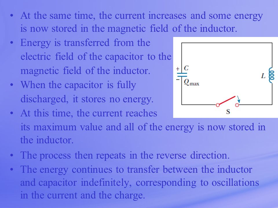 At the same time, the current increases and some energy is now stored in the magnetic field of the inductor.