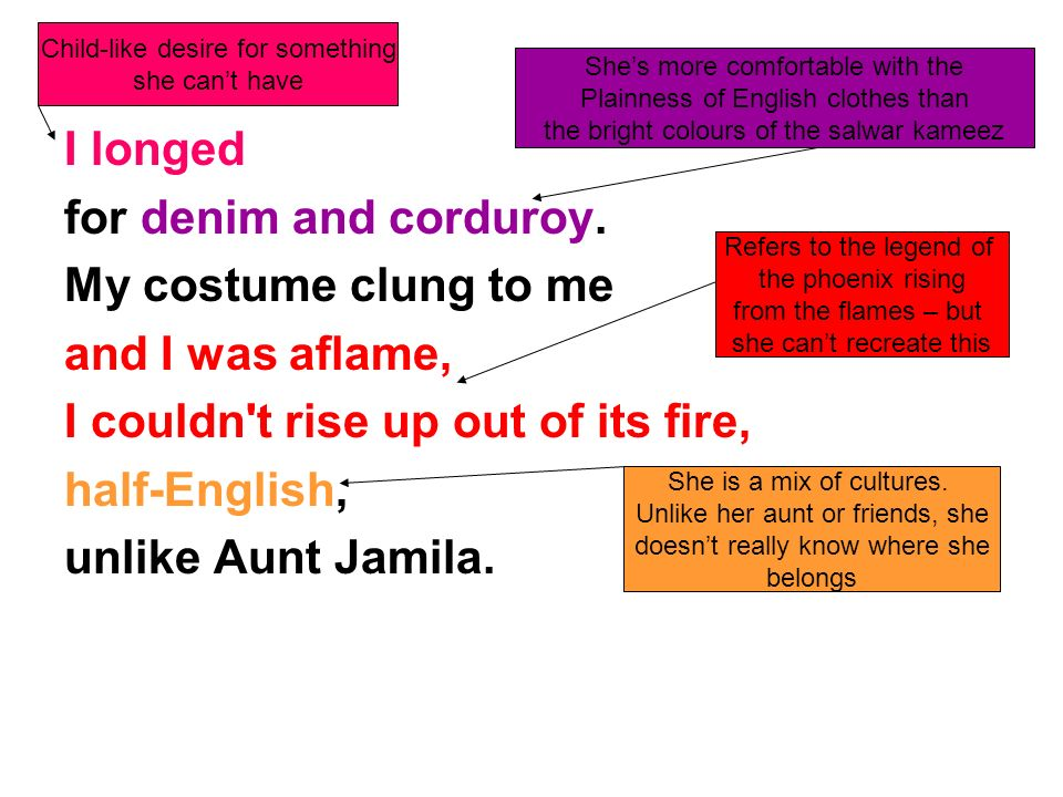 I couldn t rise up out of its fire, half-English, unlike Aunt Jamila.