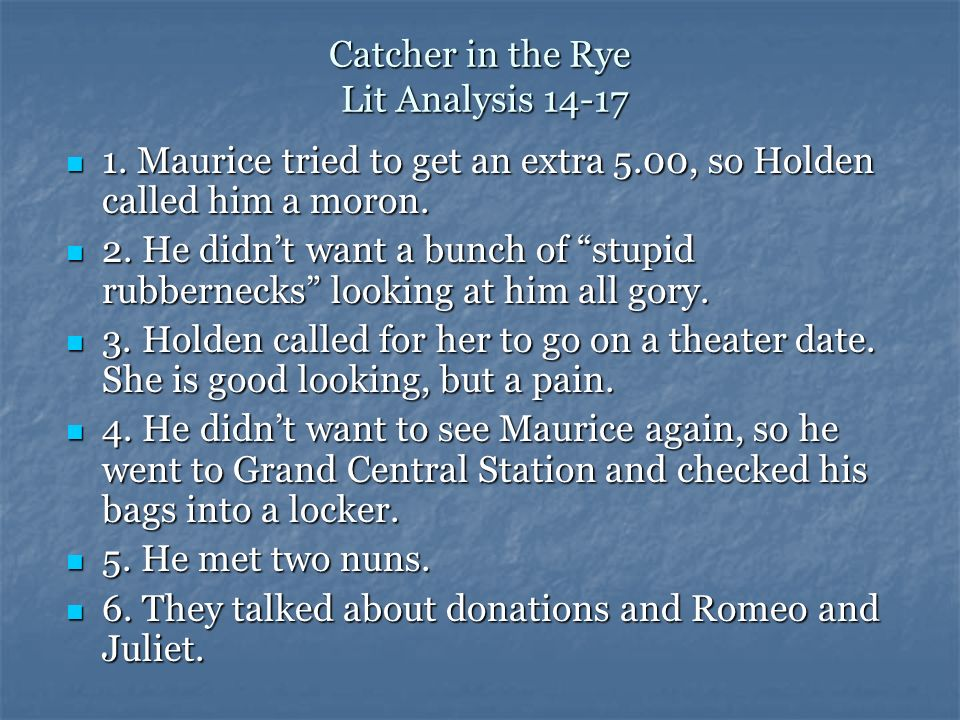 Catcher in the Rye Lit Analysis 14-17