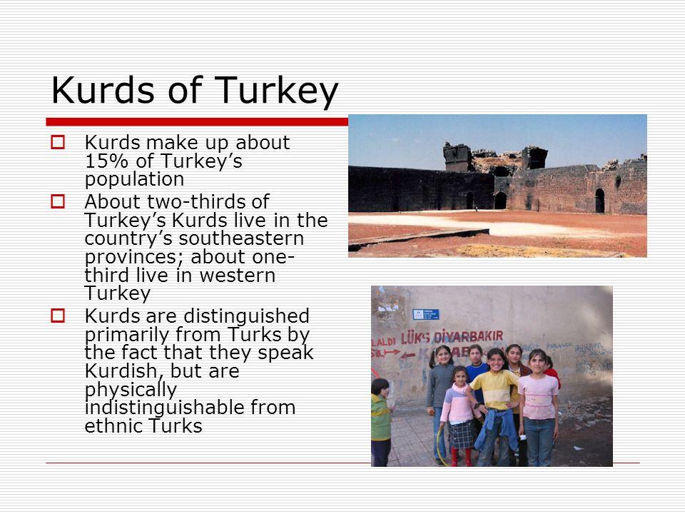Kurds of Turkey Kurds make up about 15% of Turkey's population