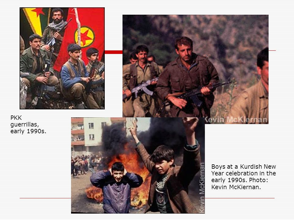 PKK guerrillas, early 1990s. Boys at a Kurdish New Year celebration in the early 1990s.