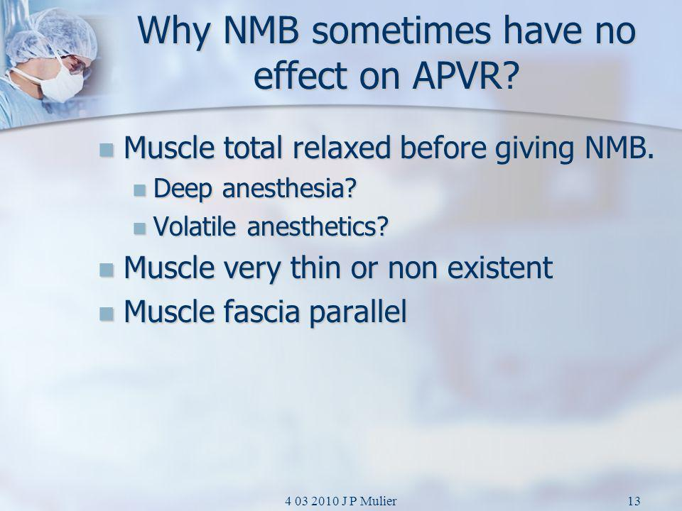 Why NMB sometimes have no effect on APVR