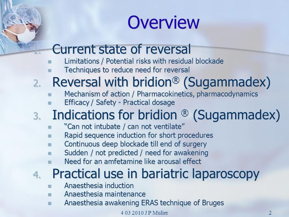 Overview Current state of reversal Reversal with bridion® (Sugammadex)