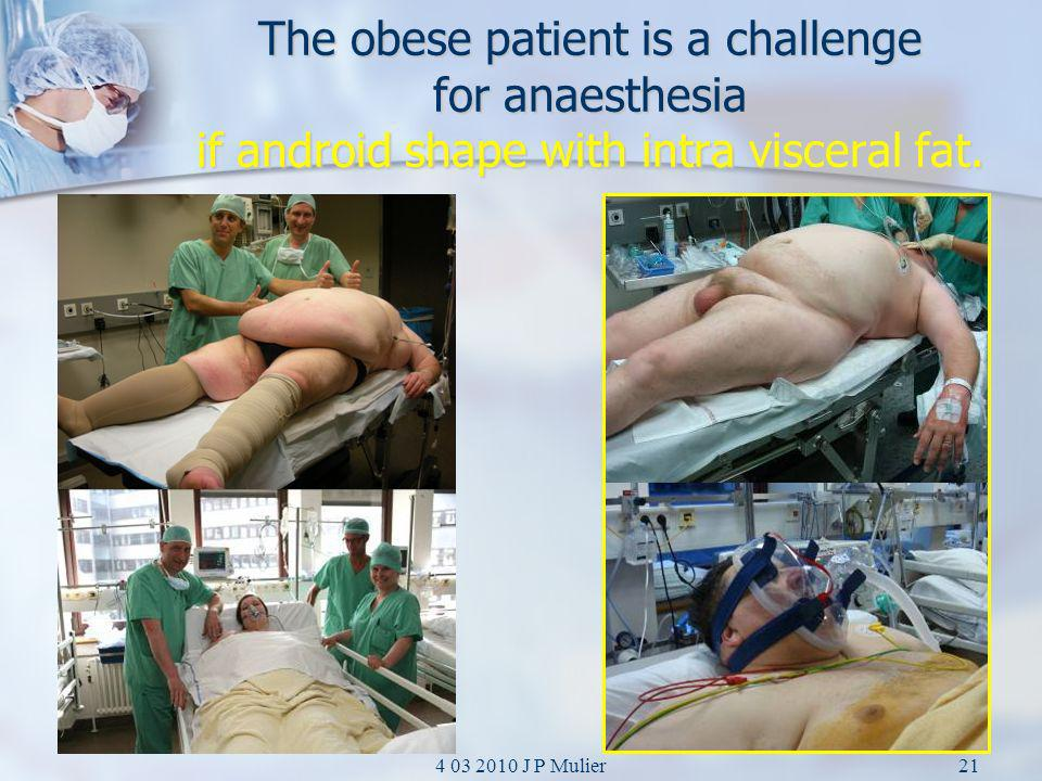 The obese patient is a challenge for anaesthesia if android shape with intra visceral fat.