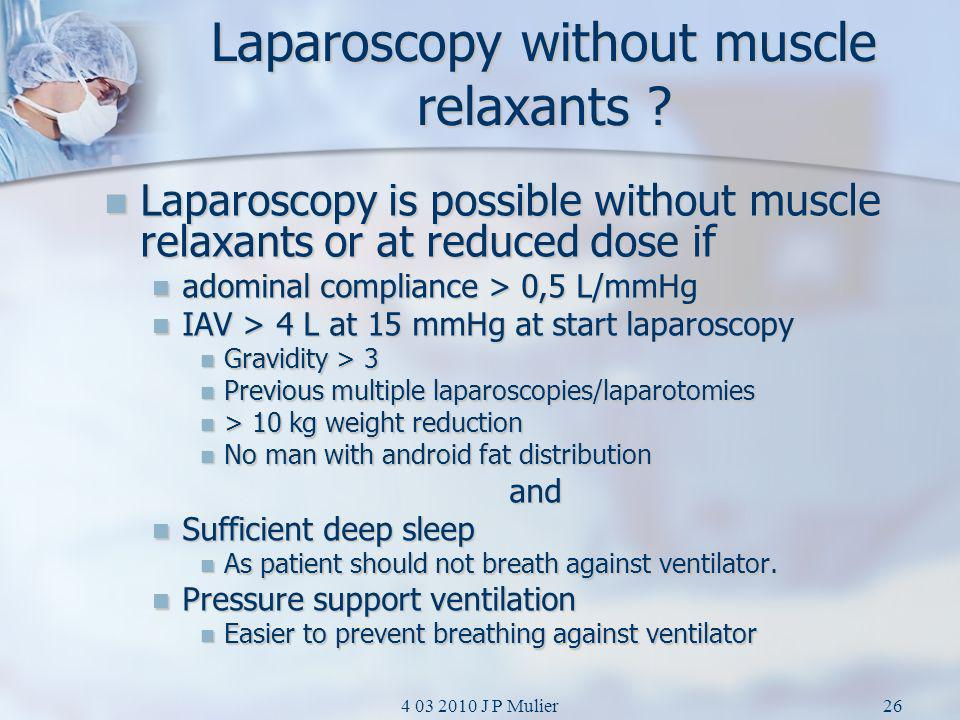 Laparoscopy without muscle relaxants