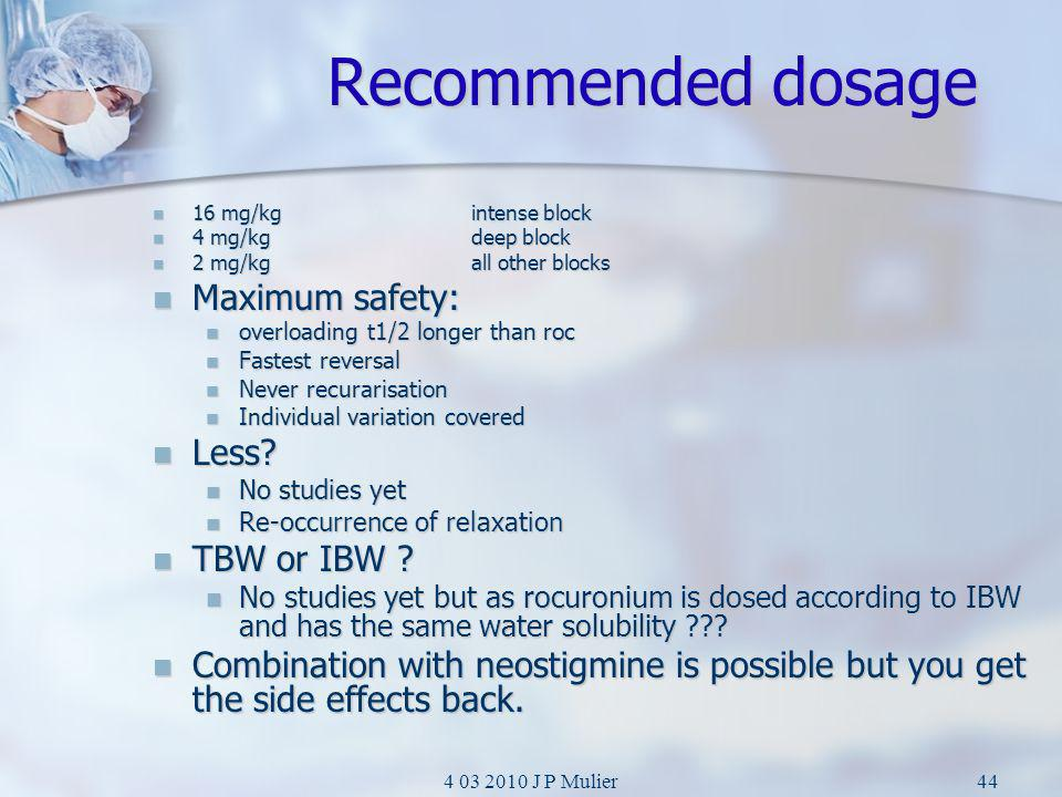 Recommended dosage Maximum safety: Less TBW or IBW