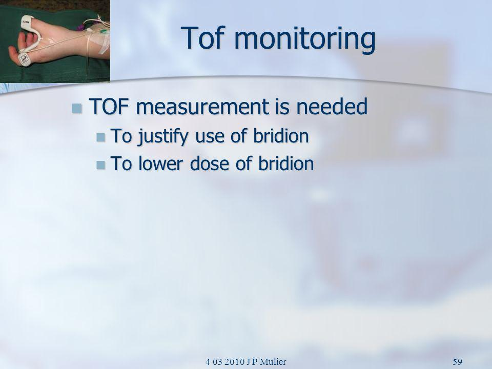 Tof monitoring TOF measurement is needed To justify use of bridion