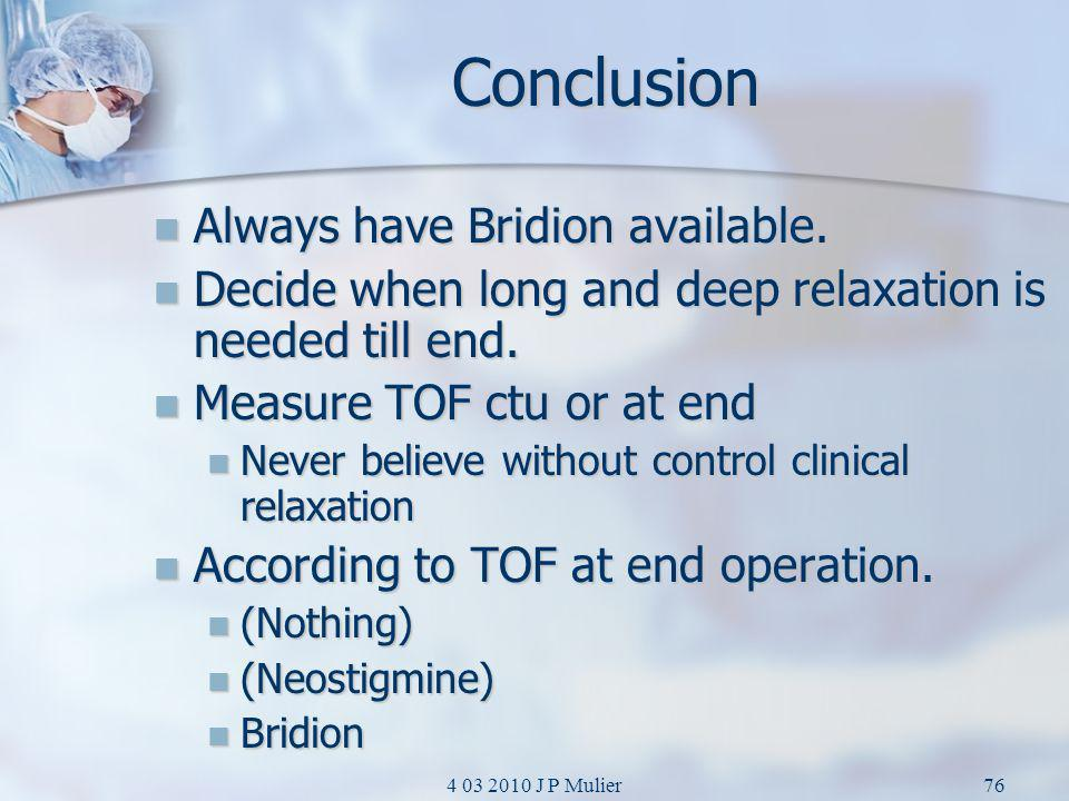 Conclusion Always have Bridion available.