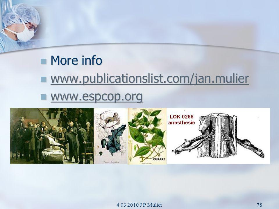 More info www.publicationslist.com/jan.mulier www.espcop.org