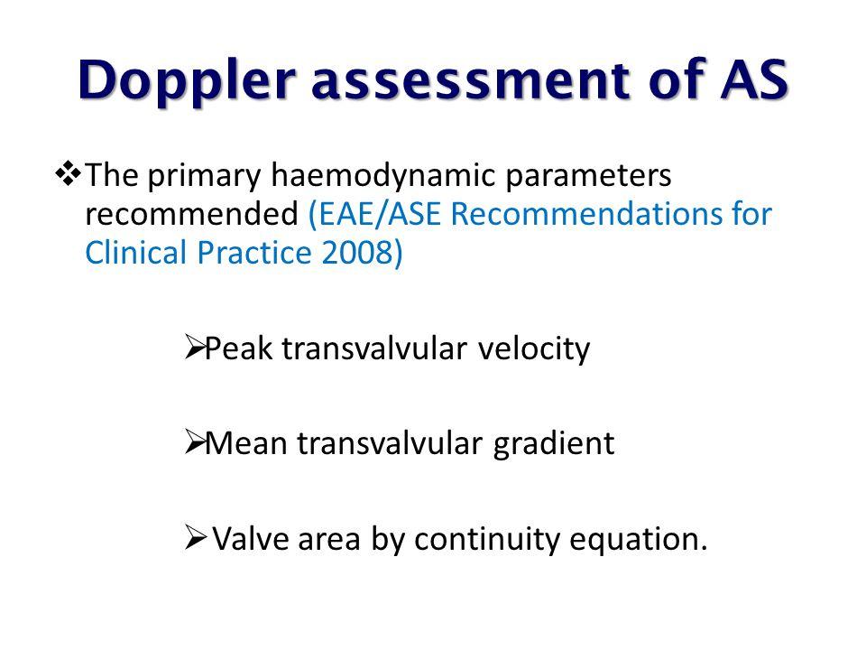 Doppler assessment of AS