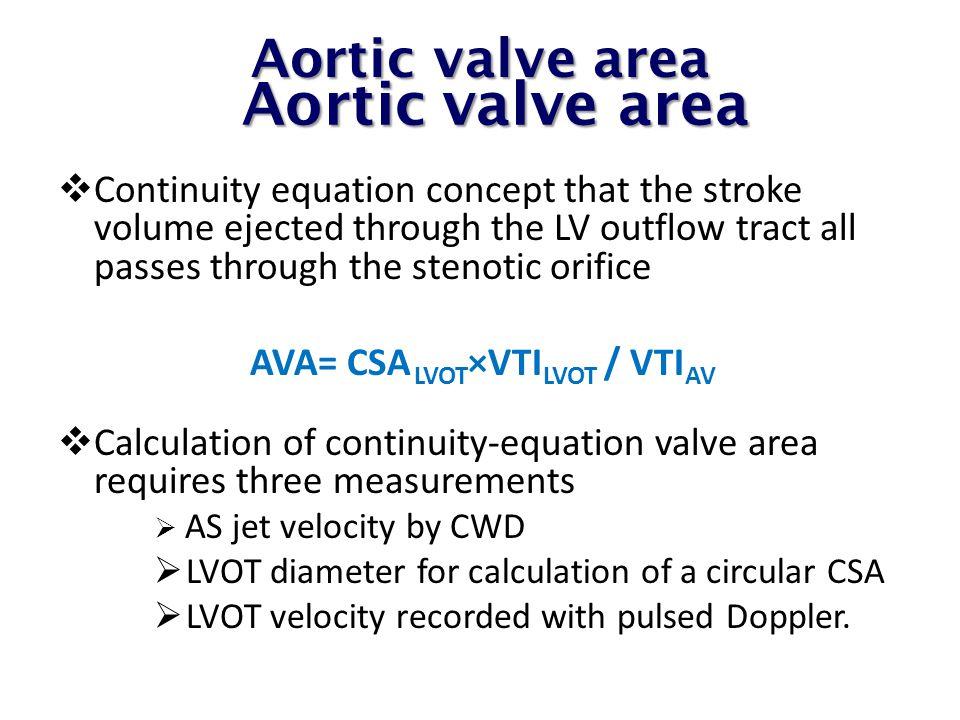 Aortic valve area Aortic valve area