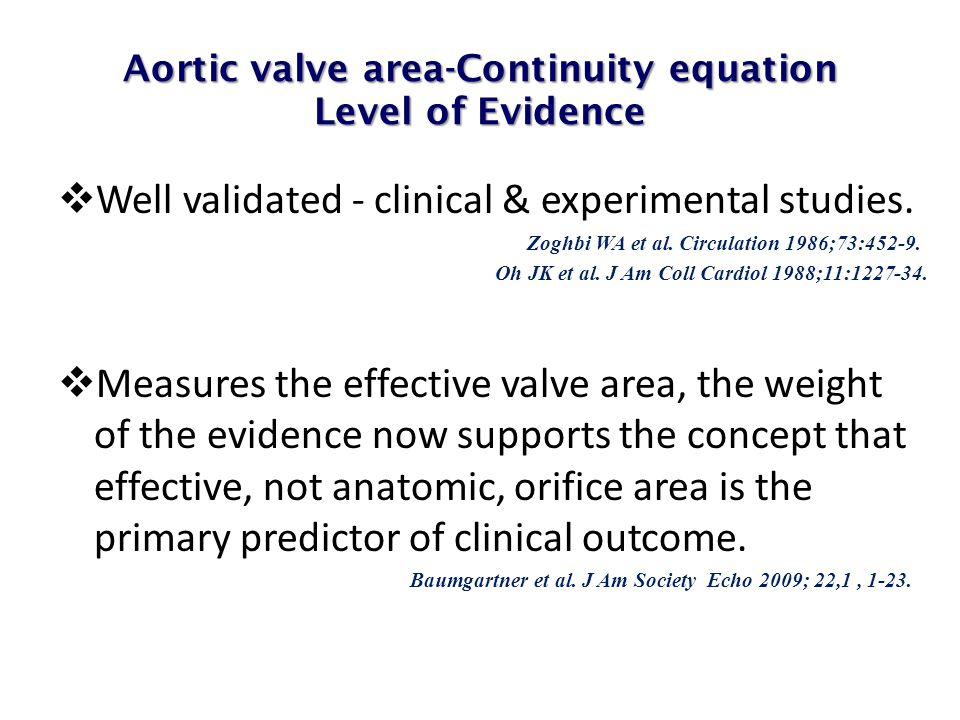 Aortic valve area-Continuity equation Level of Evidence