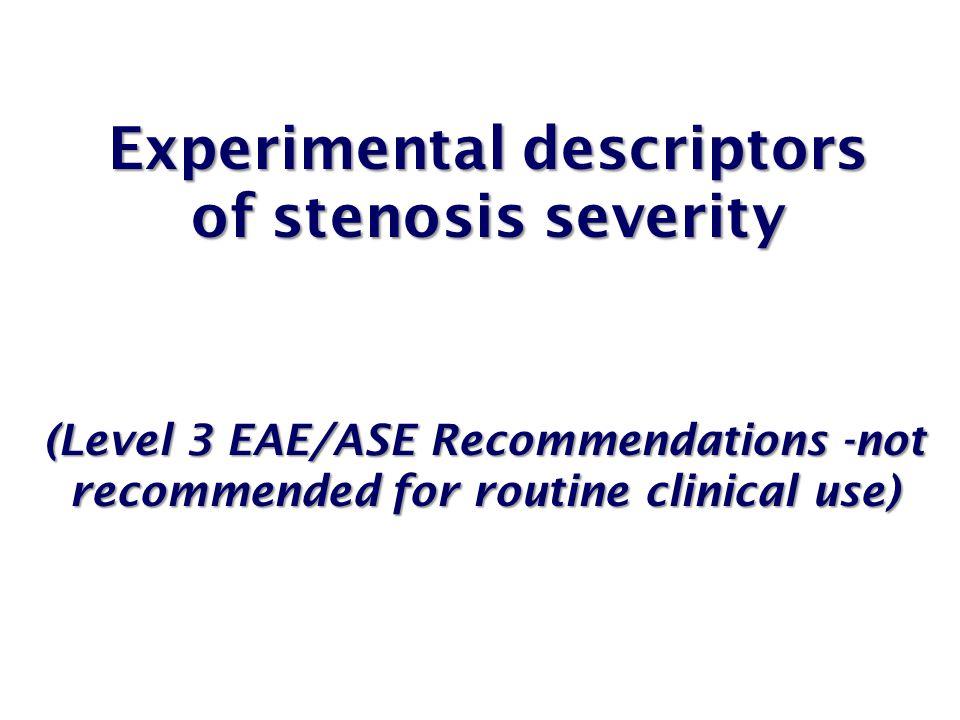 Experimental descriptors of stenosis severity