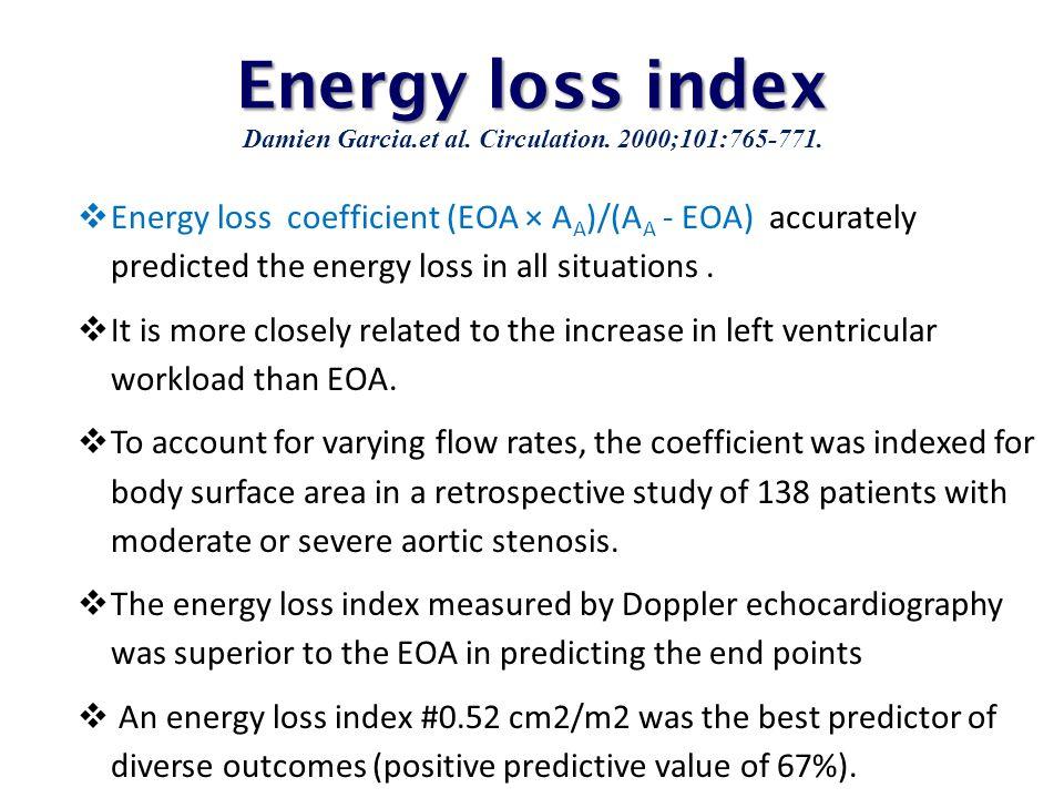 Energy loss index Damien Garcia.et al. Circulation. 2000;101:765-771.