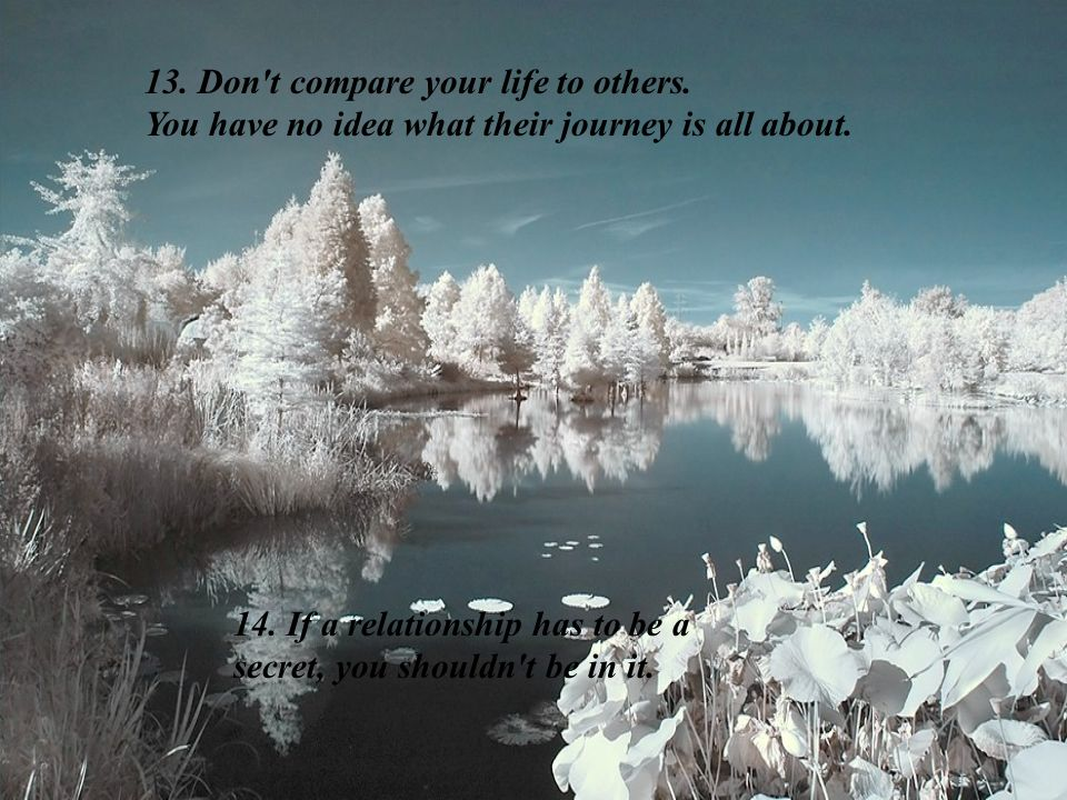 13. Don t compare your life to others.