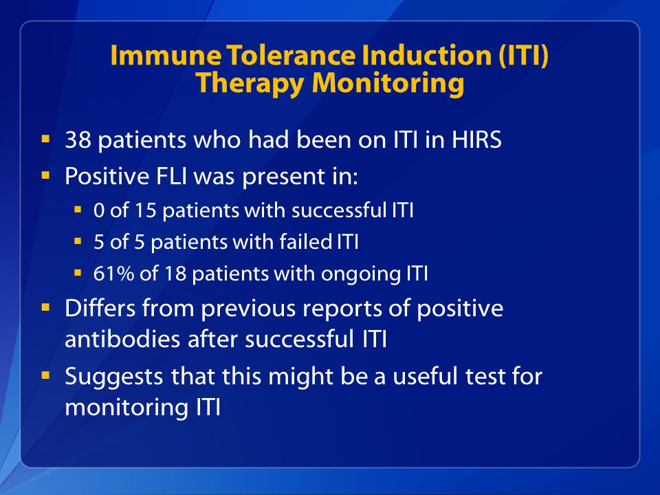 Immune Tolerance Induction (ITI) Therapy Monitoring