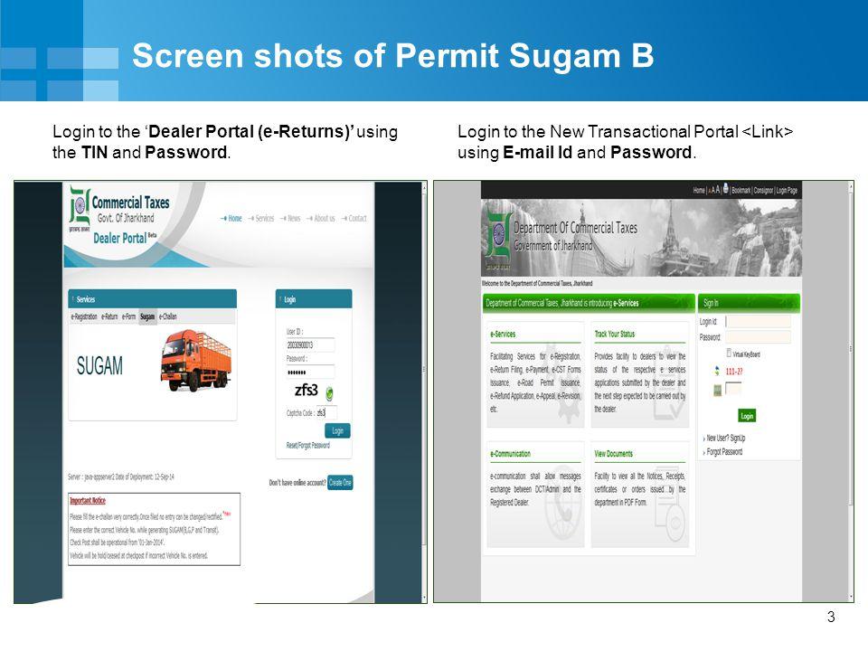 Screen shots of Permit Sugam B