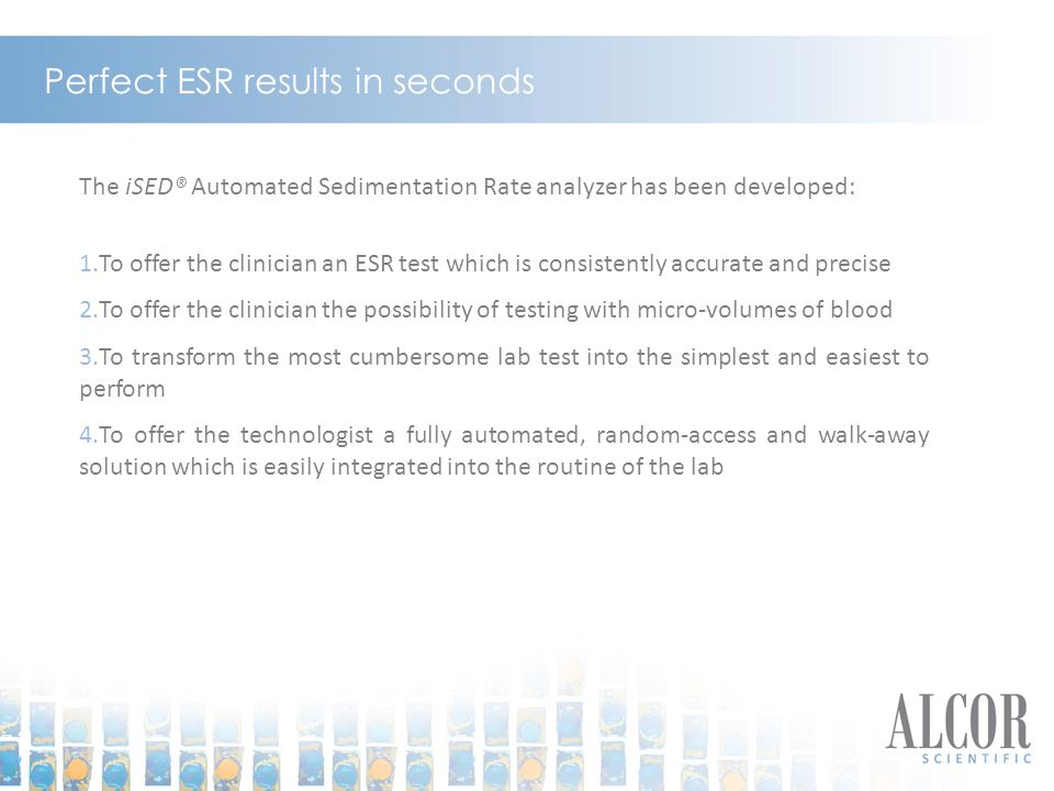 Perfect ESR results in seconds