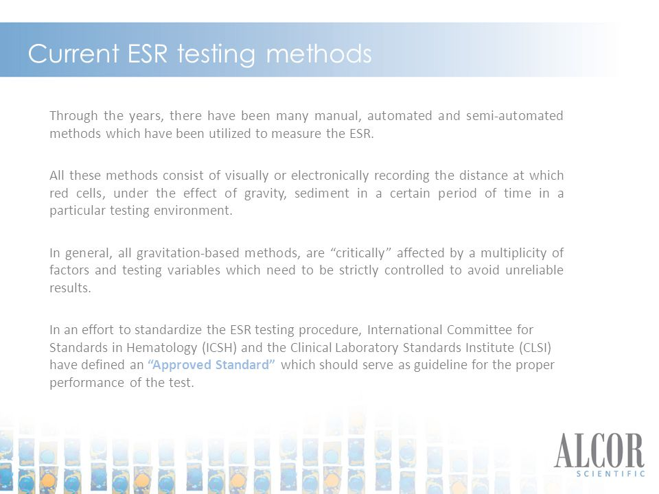Current ESR testing methods