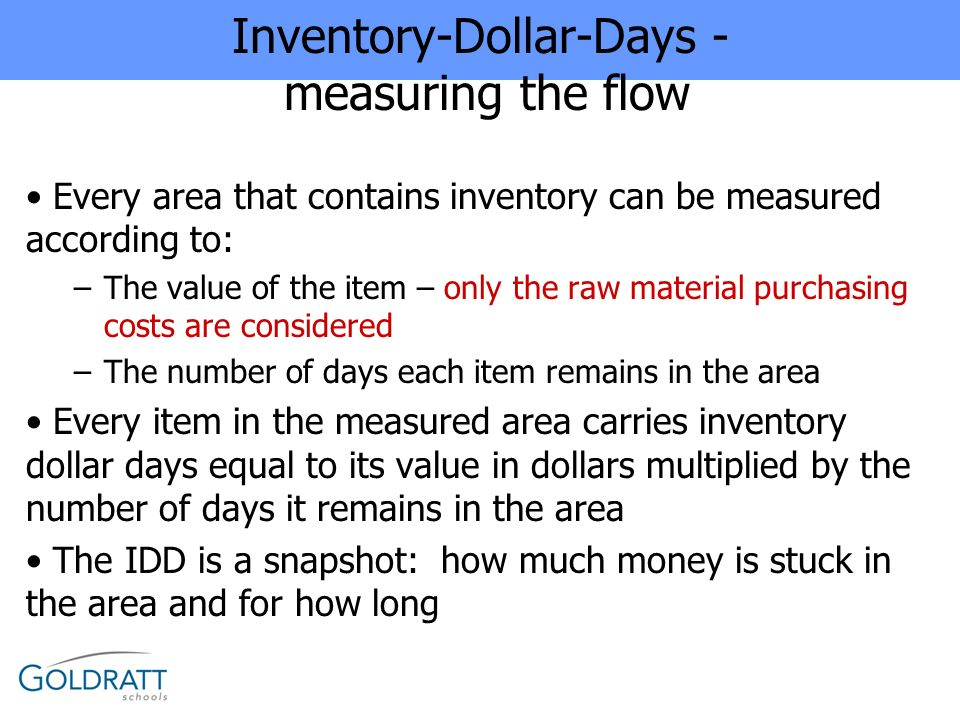 Inventory-Dollar-Days - measuring the flow