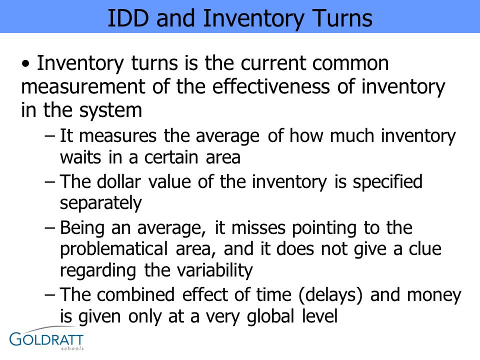IDD and Inventory Turns