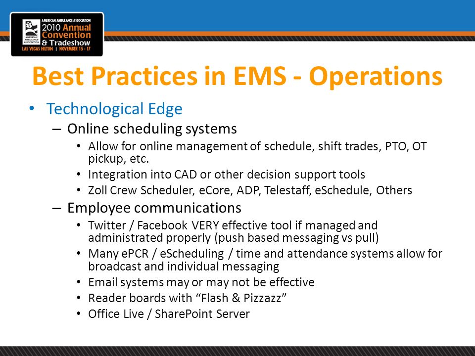 Best Practices in EMS - Operations