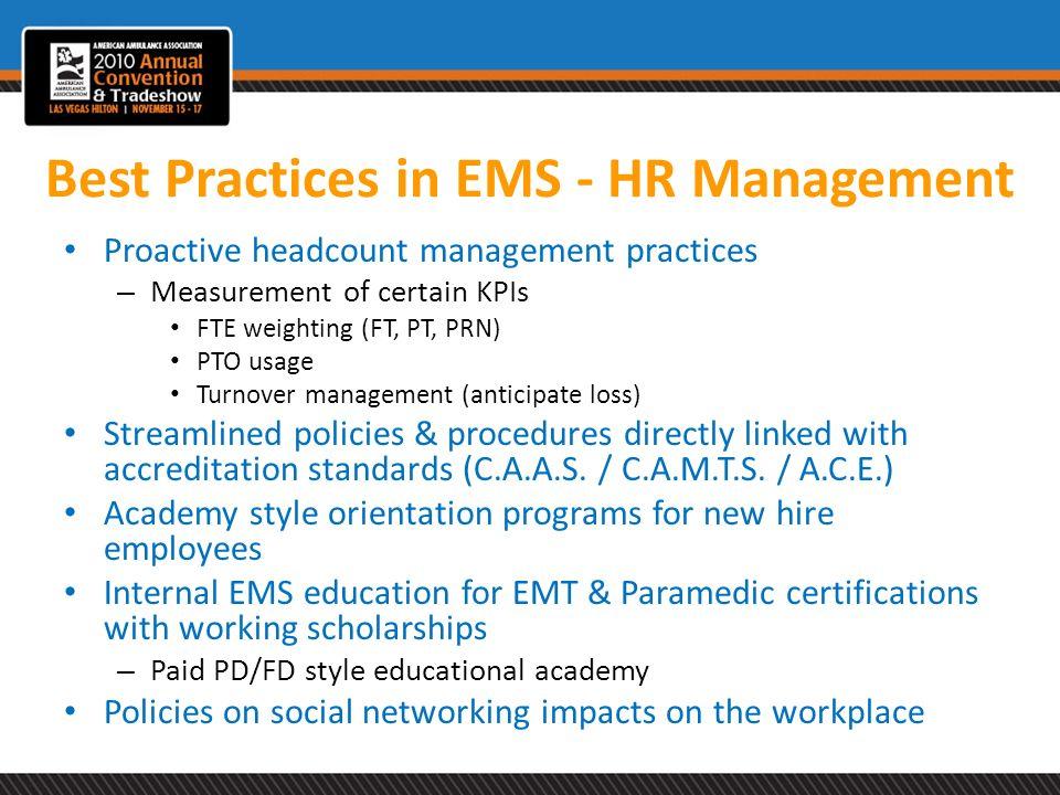 Best Practices in EMS - HR Management