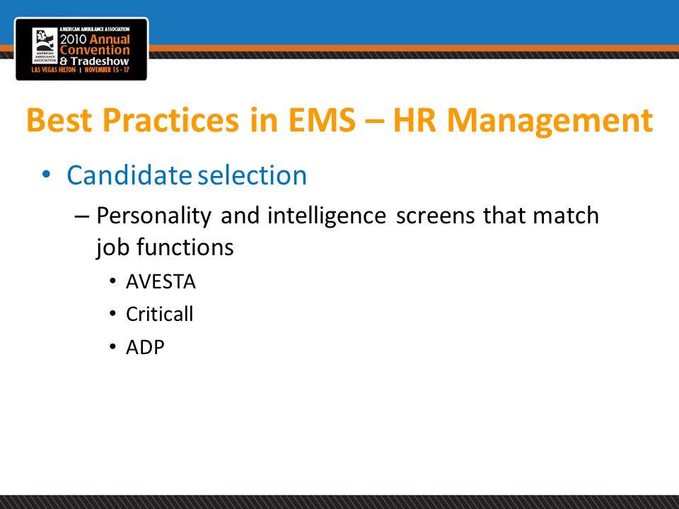 Best Practices in EMS – HR Management