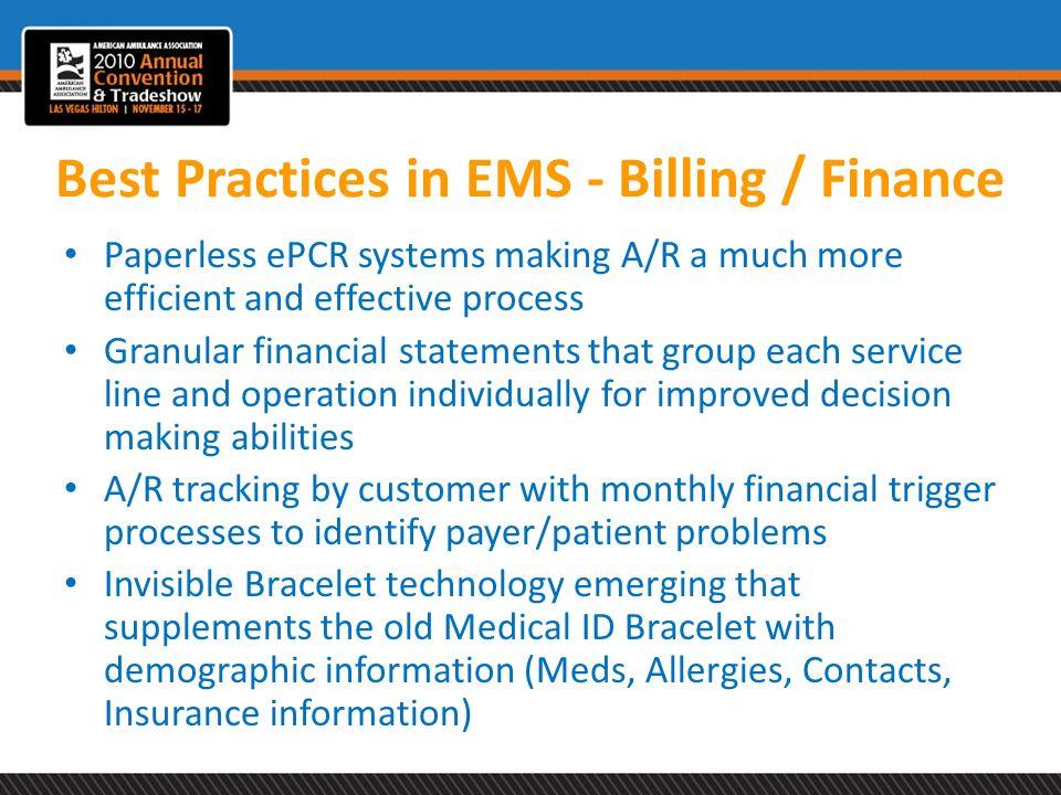 Best Practices in EMS - Billing / Finance