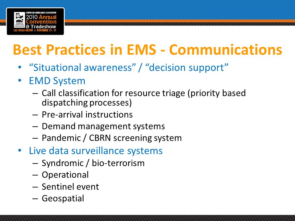Best Practices in EMS - Communications