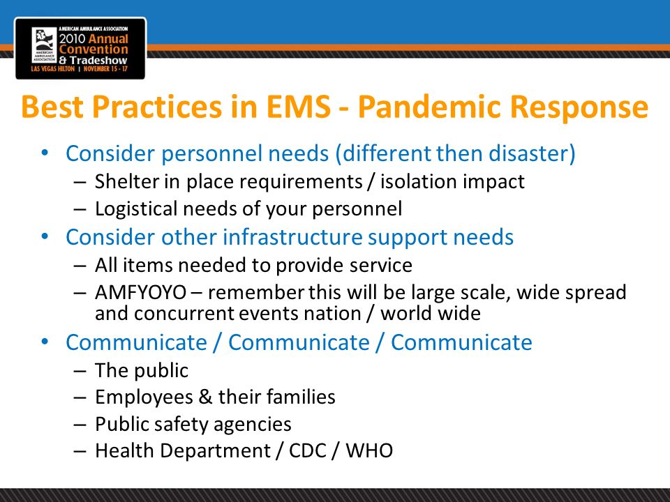 Best Practices in EMS - Pandemic Response