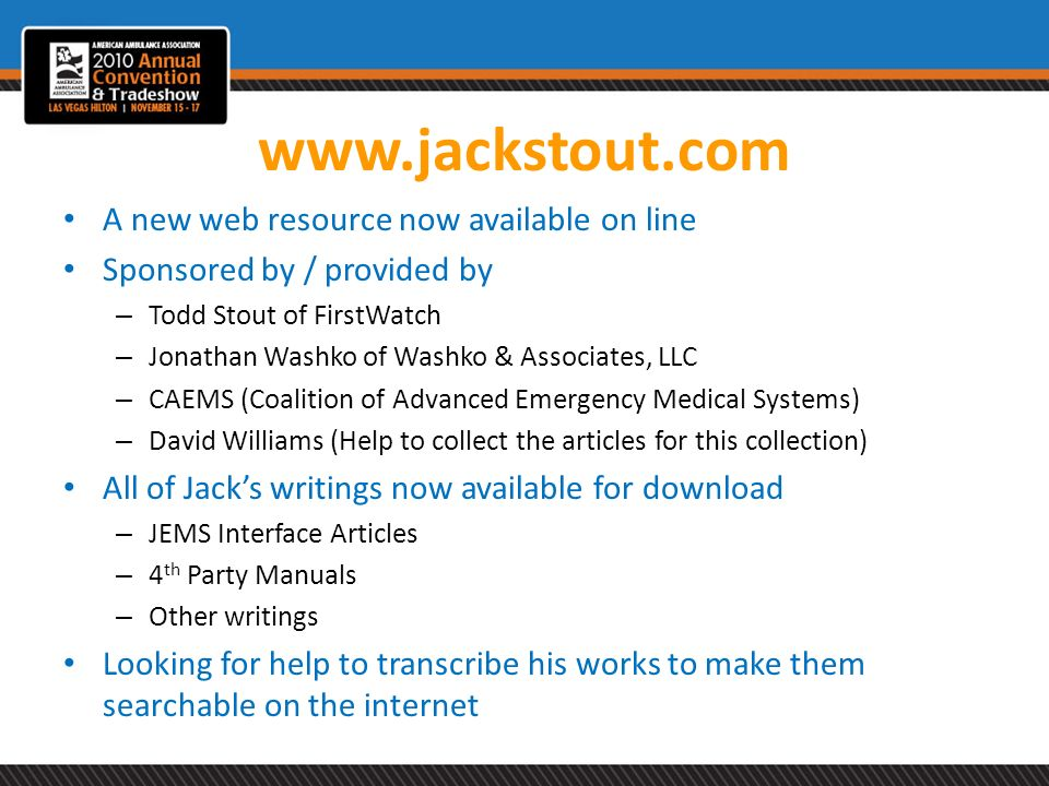 www.jackstout.com A new web resource now available on line