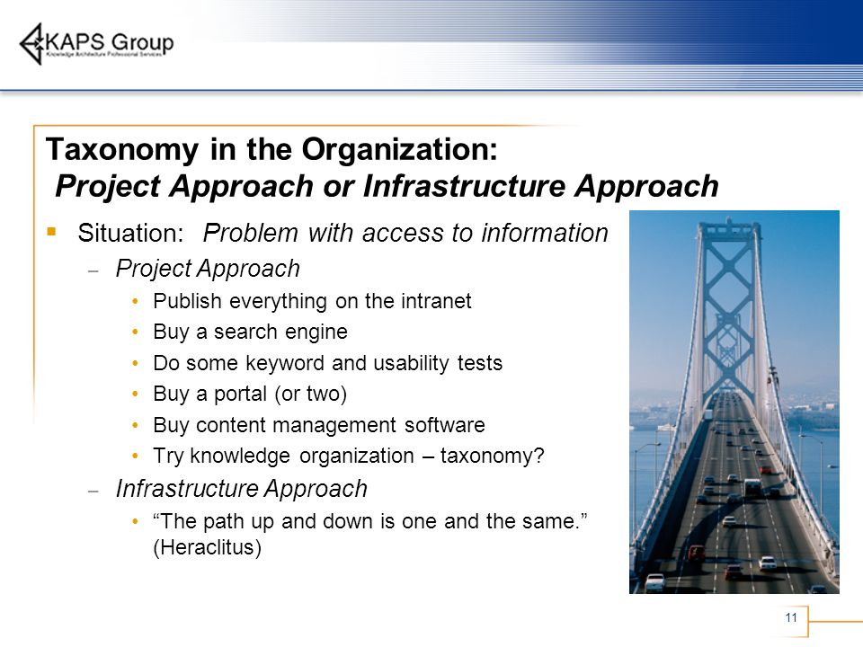 Taxonomy in the Organization: Project Approach or Infrastructure Approach